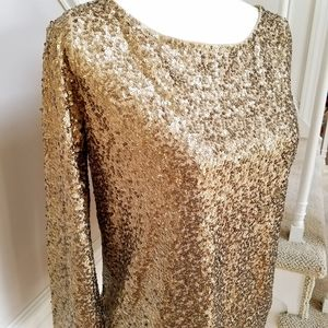 J CREW GOLD SEQUIN BOATNECK TOP NWT